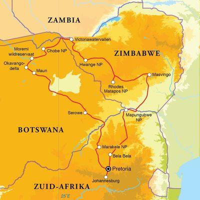 Routekaart Zuid-Afrika, Botswana & Zimbabwe, 21 dagen
