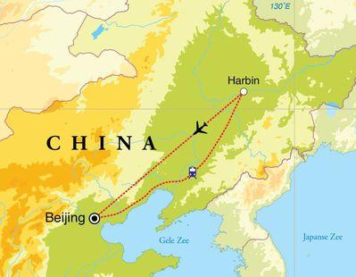 Routekaart Winterreis China, 8 dagen