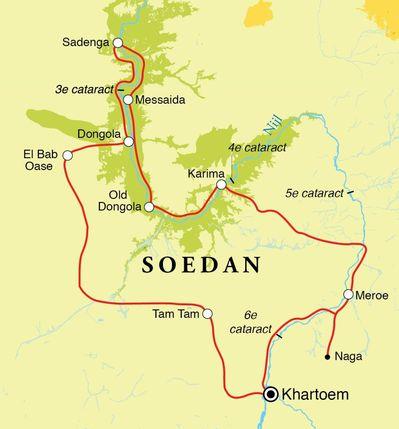 Routekaart Rondreis Soedan, 13 dagen