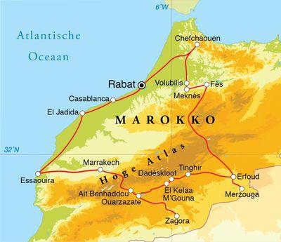 Routekaart Rondreis Marokko, 21 dagen