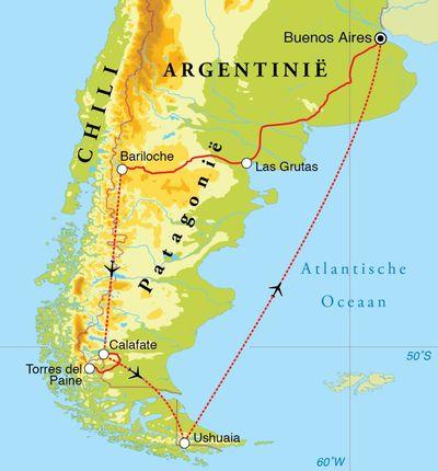 Routekaart Eclipsreis Argentinië & Chili, 22 dagen