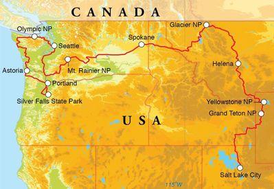 Routekaart Rondreis Noordwest-Amerika, 22 dagen hotel/kampeerreis
