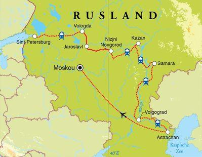Routekaart Rondreis Rusland, 16 dagen