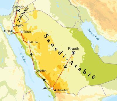 Routekaart Rondreis Saoedi-Arabië, 11 dagen