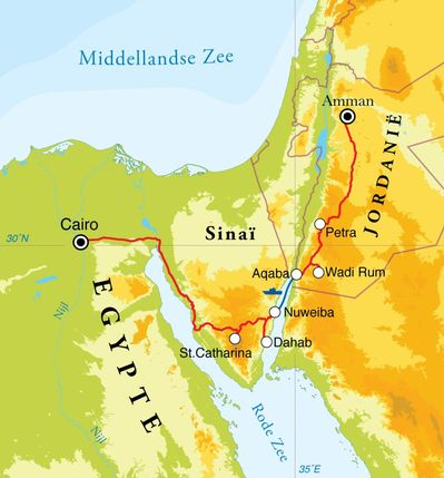 Routekaart Rondreis Egypte & Jordanië, 15 dagen
