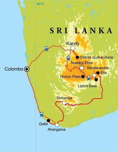 Routekaart Cultuurreis Sri Lanka, 12 dagen