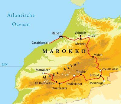 Routekaart Rondreis Marokko, 10 dagen