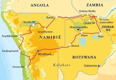 Routekaart Rondreis Namibië, Botswana & Victoriawatervallen, 21 dagen hotel/lodge of kampeerreis