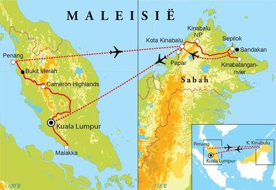 Routekaart Rondreis West-Maleisië & Borneo, 20 dagen