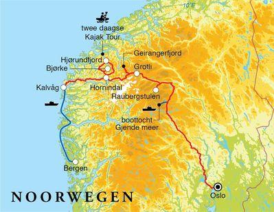 Routekaart Rondreis Noorwegen, 12 dagen