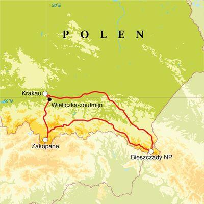 Routekaart Winterreis Polen, 8 dagen