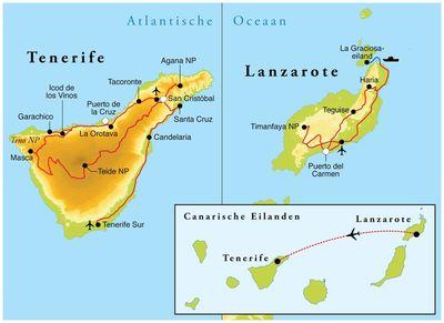 Routekaart Rondreis Lanzarote & Tenerife, 8 dagen