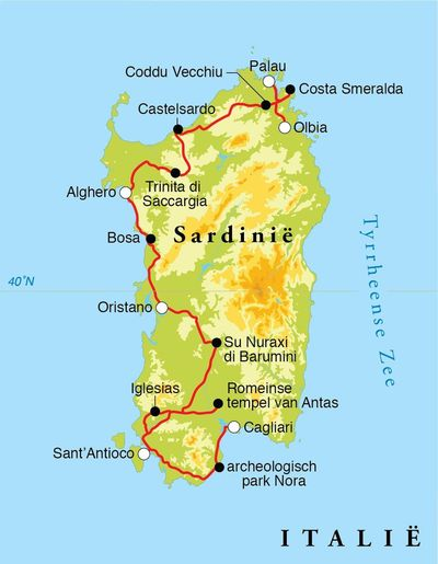 Routekaart Rondreis Sardinië, 12 dagen