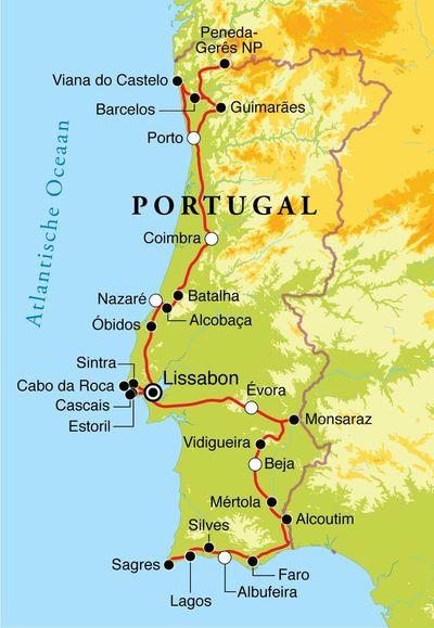 Routekaart Rondreis Portugal, 15 dagen