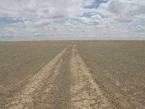 De weg in de Gobi
