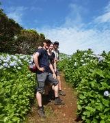 Azoren wandel deelnemers bloemen