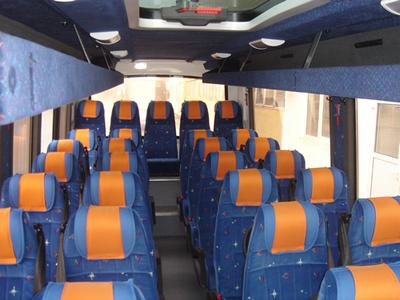Roemenie en Bulgarije bus binnekant vervoersmiddel rondreis Djoser