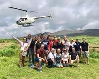 Mt. Aso groep met helikopter Japan