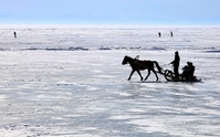 Bevroren Baikal meer winter Rusland