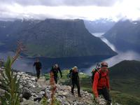Wandelen fjord Leknesnakken Noorwegen
