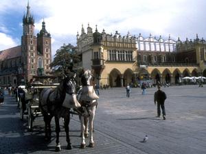 Kraków - marktplein met Mariakerk