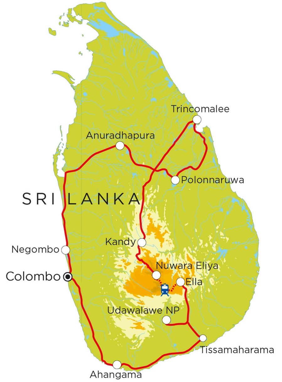 Routekaart Sri Lanka, 20 dagen