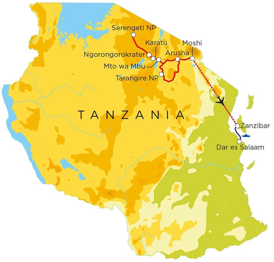Routekaart Tanzania & Zanzibar, 15 dagen