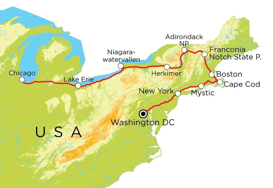 Routekaart Verenigde Staten Oost, 22 dagen