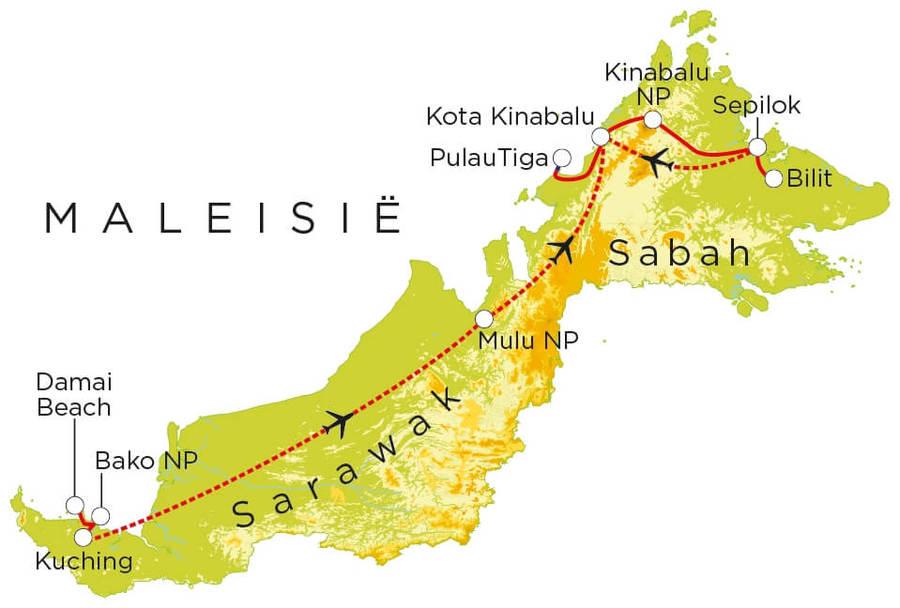 Routekaart Maleisisch Borneo, 21 dagen