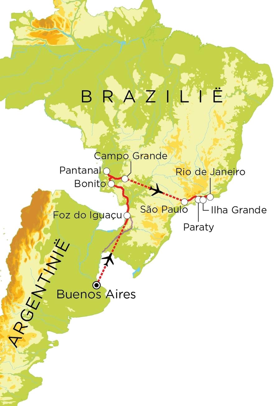 Routekaart Argentinië & Brazilië, 21 dagen