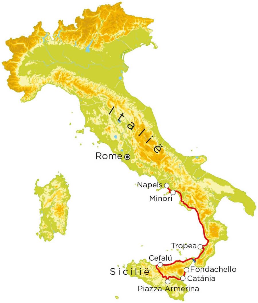 Routekaart Italië Zuid & Sicilië, 20 dagen