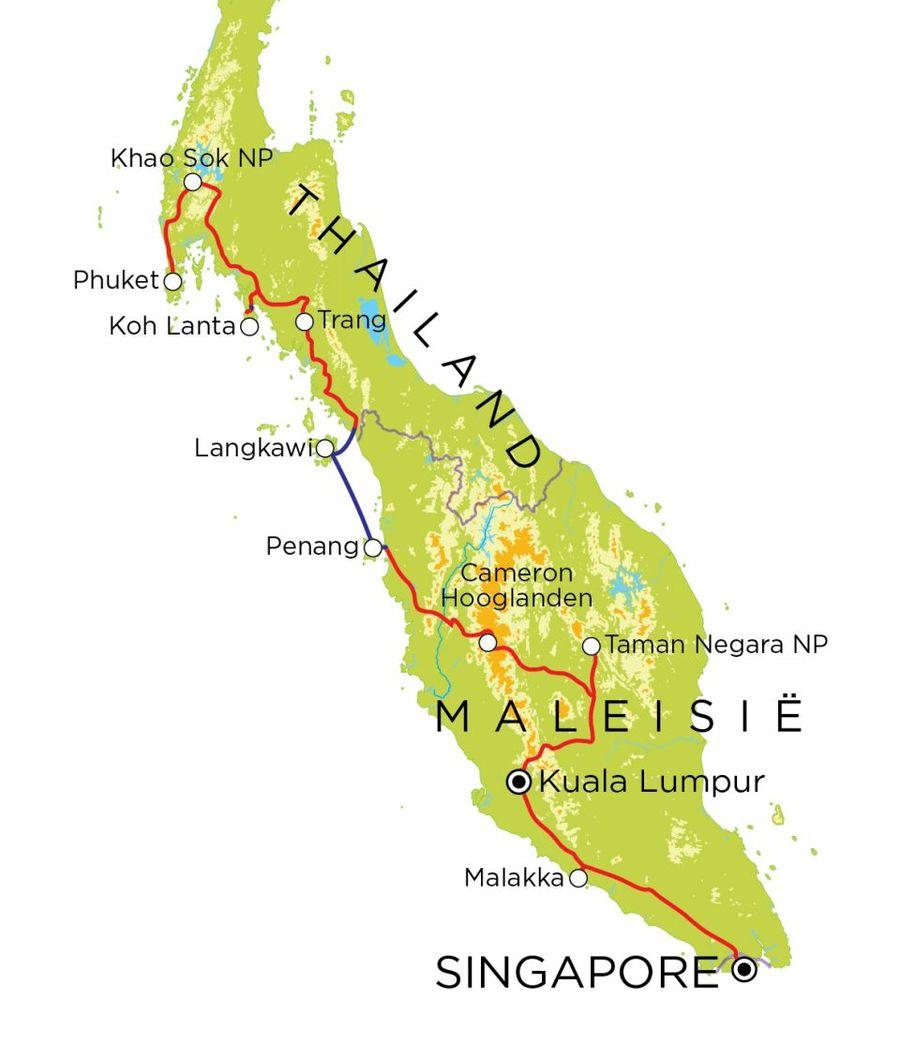Routekaart Thailand, Maleisië & Singapore, 21 dagen