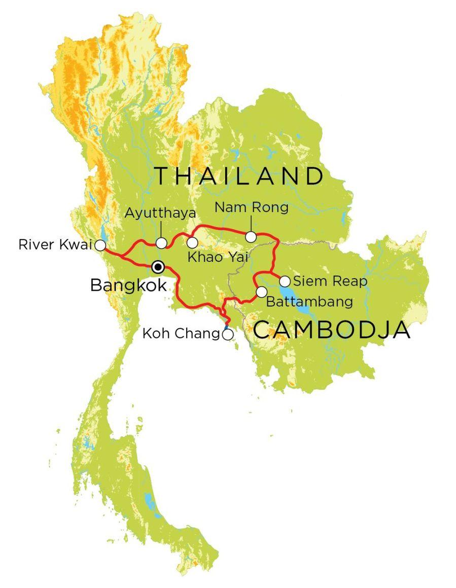 Routekaart Thailand, Cambodja & Koh Chang, 21 dagen