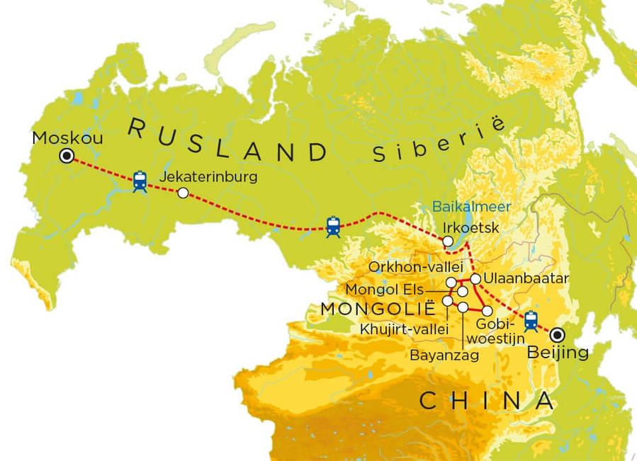 Routekaart Transsiberië Express, 23 dagen