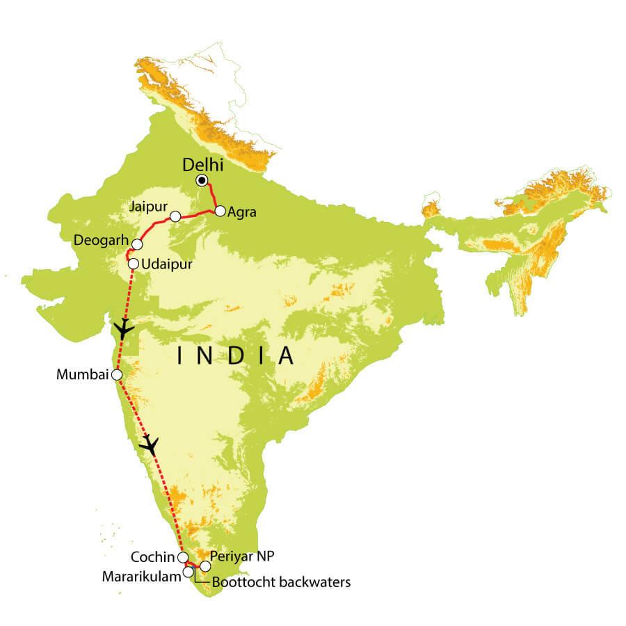 Routekaart India Noord & Zuid, 21 dagen