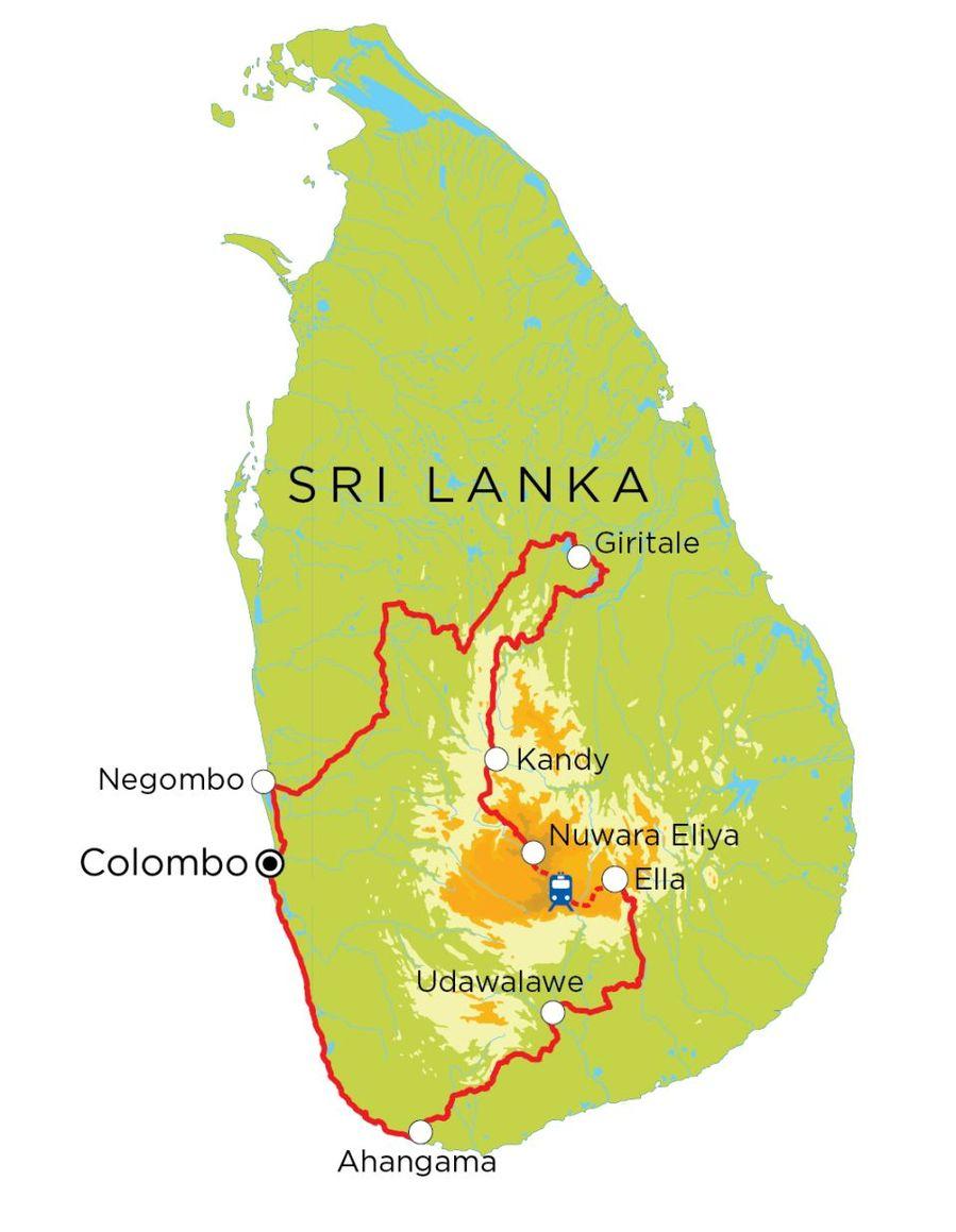 Routekaart Sri Lanka, 15 dagen