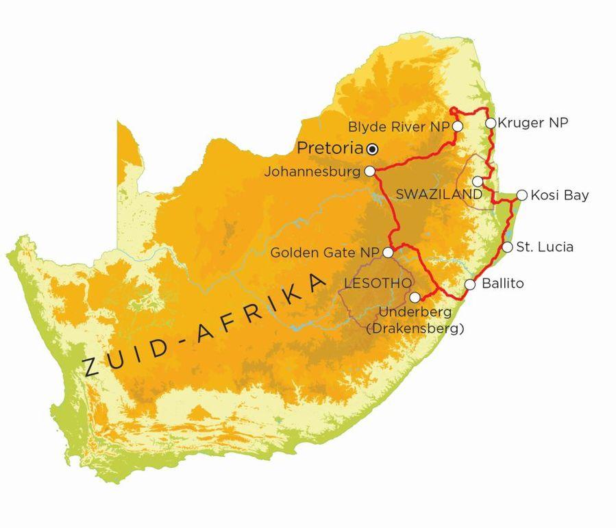 Routekaart Zuid-Afrika Selfdrive, 20 dagen