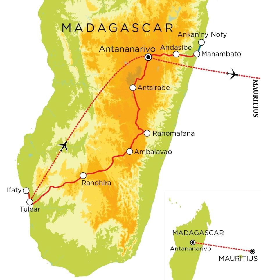 Routekaart Madagascar & Mauritius, 22 dagen