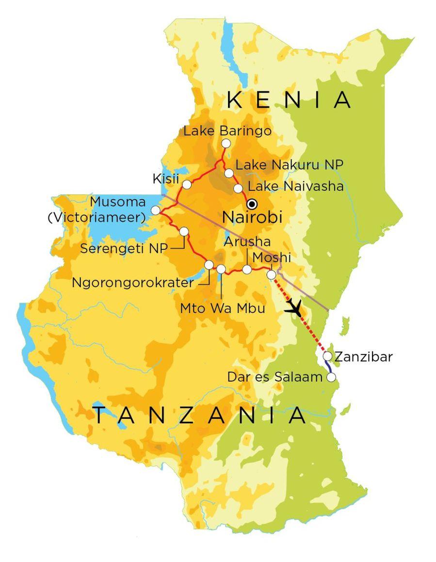 Routekaart Kenia, Tanzania & Zanzibar, 21 dagen