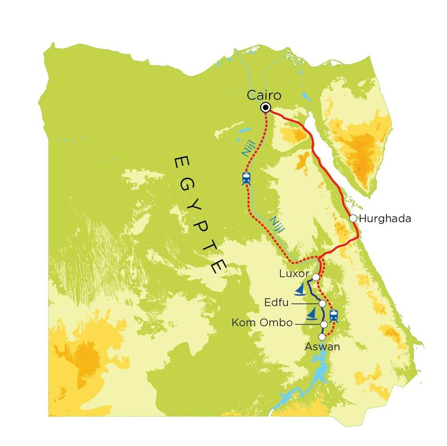 Routekaart Egypte, 19 dagen