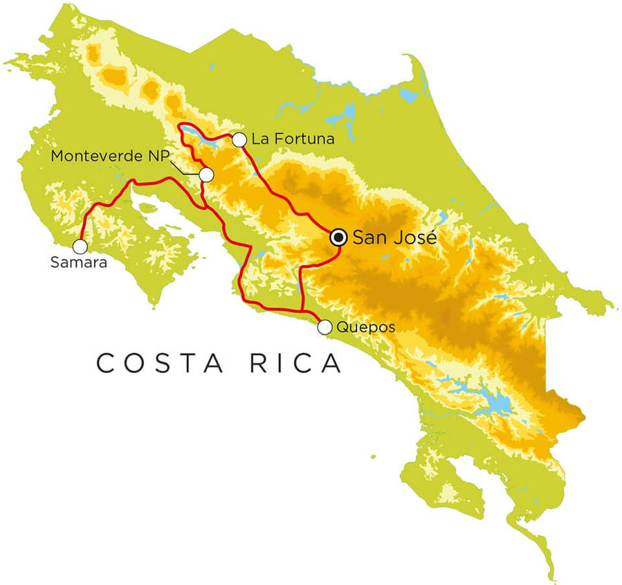 Routekaart Costa Rica, 13 dagen