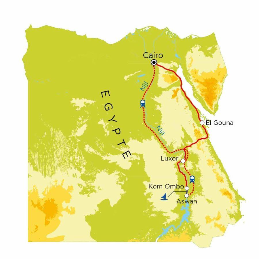 Routekaart Egypte, 15 dagen
