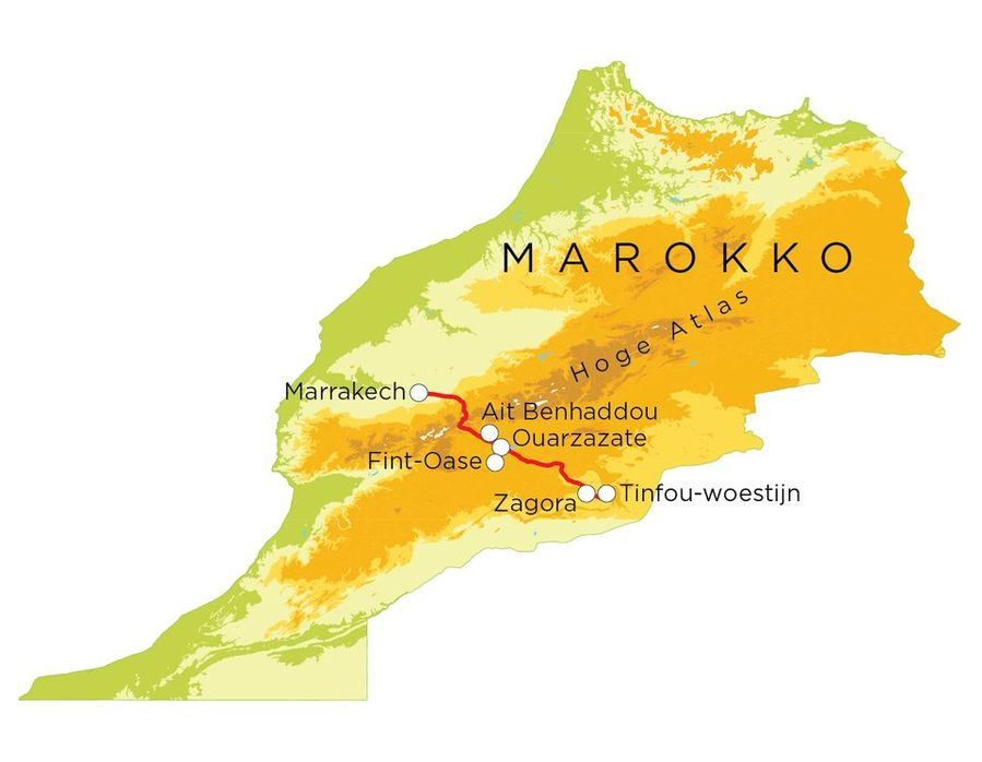Routekaart Marokko (woestijn en Marrakech), 8 dagen