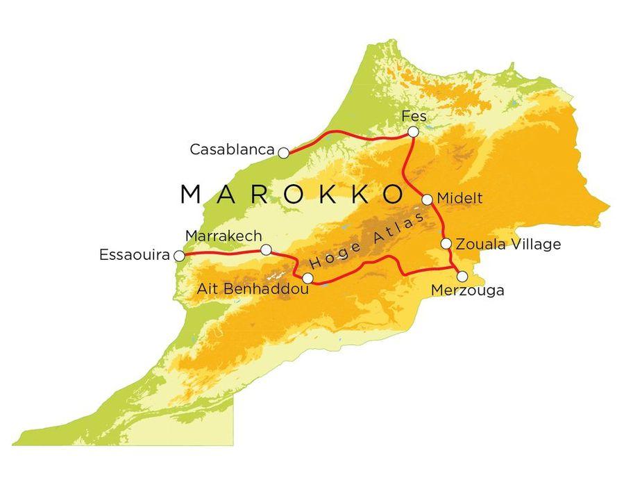 Routekaart Marokko, 20 dagen