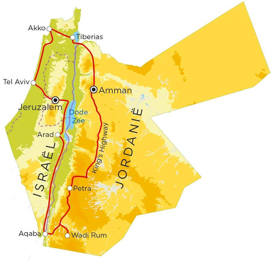 Routekaart Israël & Jordanië, 18 dagen
