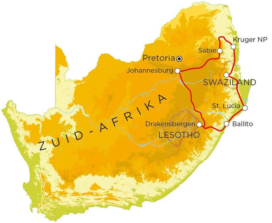 Routekaart Zuid-Afrika Noord & Swaziland, 15 dagen