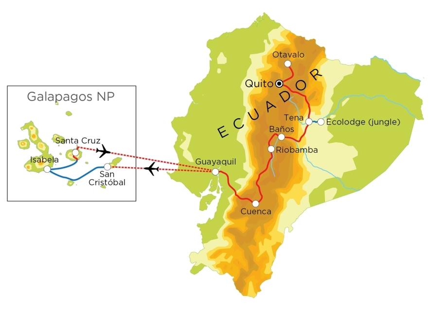 Routekaart Ecuador & Galapagos, 21 dagen