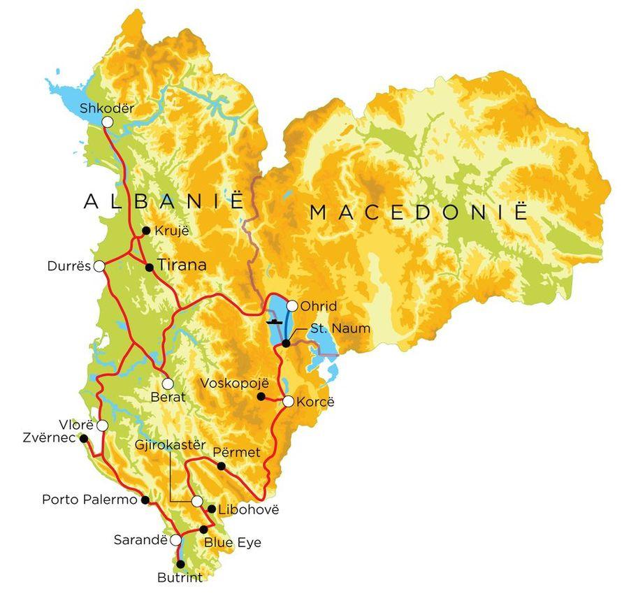 Routekaart Albanië & Noord-Macedonië, 18 dagen